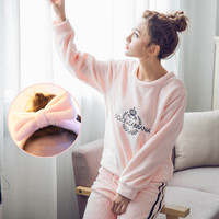 2017 Pyjamas Women Flannel Adults Winter Warm Pajama Sets Long Sleeved Velvet Pink Cartoon Sleepwear Femme