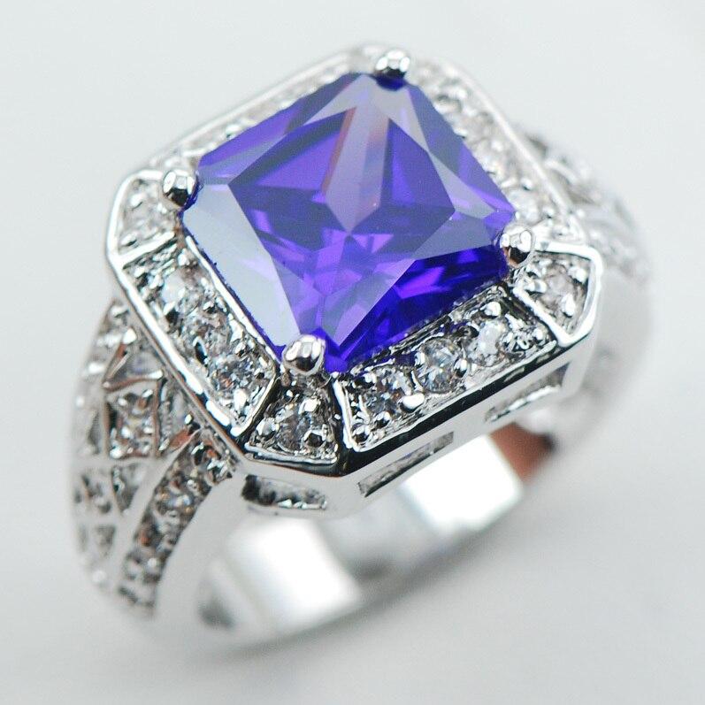 0f1c55ec62cb Violet Cristal Zircon Blanc Cristal Zircon 925 Bague En Argent Sterling  Taille 6 7 8 9 10 F1069