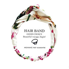 Spring and summer hair accessories geranium floral silk satin elastic cross band headband