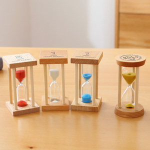 Home Decoration Accessories Hourglass 3 Minutes Sand Clock Watch Glass Wood Mini 5 Minute Shower Timer Wedding Favors SL-MZYX(China)