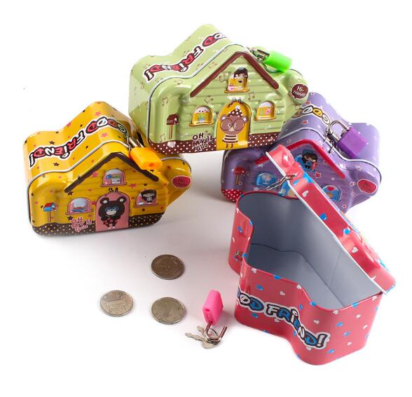1PC Cartoon Tin Metal Coin Piggy Bank with Lock Money Box Money Saving Box Moneybox Gifts for Kids LG 010 in Money Boxes from Home Garden