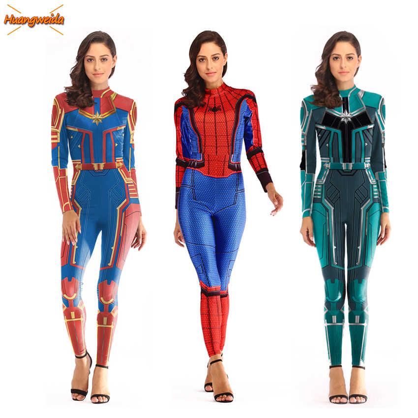 Thuyền Trưởng Marvel Asuna Nữ Trang Phục Hóa Trang Nữ Carnival Siêu Anh Hùng Trang Phục Nọc Độc Nhện Liền Quần Cải Trang Áo Người Nhện