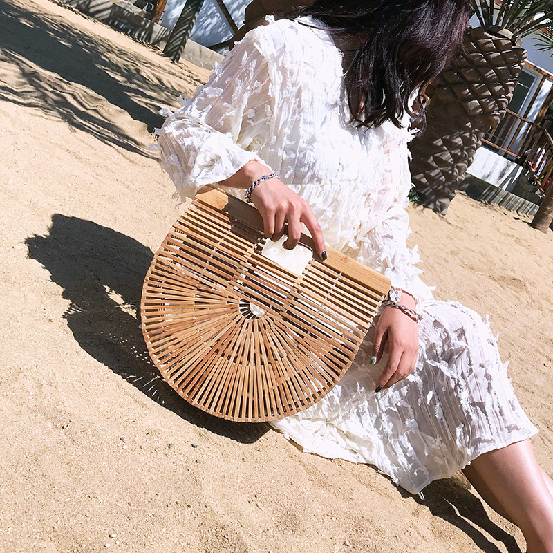 Bamboo Purse Luxury Handbags Women Bags Designer Wood Women Clutch Summer Beach Bags,European and American Acrylic Basket Bag 2017 new tws mini bluetooth headset stereo music earphone built in mic small wireless earbud with 2100mah recharge battery