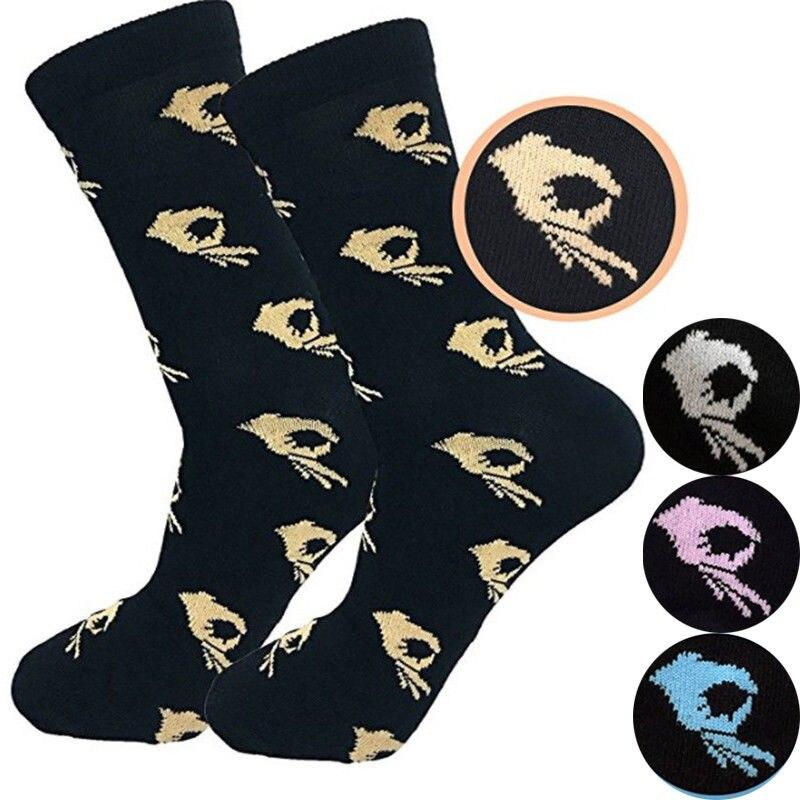 New 1Pair Unisex Fashion High Hosiery   Sock   Women OK Print Cool   Sock   Crew   Sock   Men Funny Cartoon Art Cotton Soft   Socks