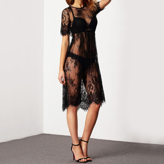 Women's Dress Casual Long Black Short Sleeve O Neck Transparent Sexy Lace