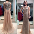 Sparkly Rose Gold Sequins Long Prom Dresses Sheer Illusion Back with Crystal Beadings Champagne Chiffon Evening Gowns Nude