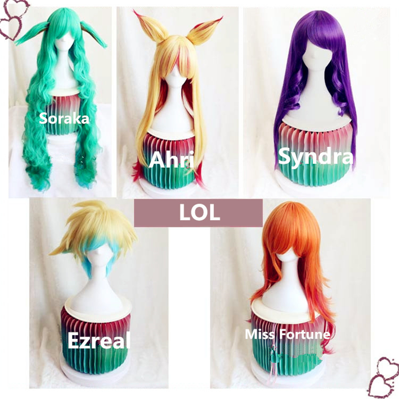 New Game LOL STAR GUARDIAN Cosplay Props Soraka Ahri Ezreal Miss Fortune Syndra Wig Women Man Cosplay Wig Hair Party Dionysia