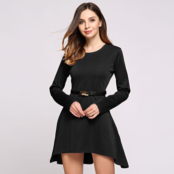 Women Fashion Spring Autumn Long Sleeve Round Collar Asymmetrical Hem A-line High Waist Side Pocket Solid Mini Dress