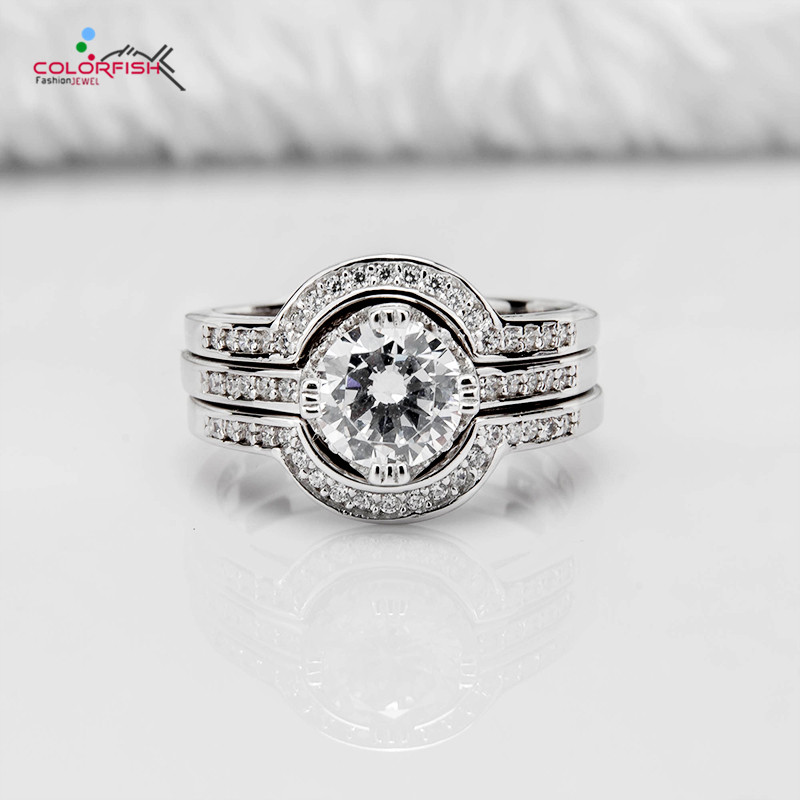 COLORFISH Solid 925 Sterling Silver Halo Engagement Ring Sets 1.25 CT Round Wedding Band Luxury Jewelry 3 Pcs Female Finger Ring