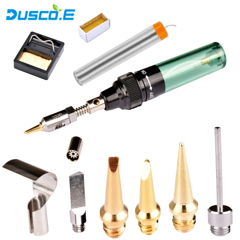 MT-100 Butane Gas Soldering Iron Pen Cordless Torch Electric Soldering Iron + 5pcs Tips Nozzle + Tweezers + Rosin DIY Butane Gun