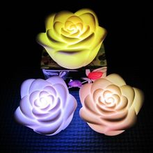 Mini pocket Rose Led removable Flower shape Night Light 7 Colors Changing Candle Lights baby toy decoration Lamp Romantic