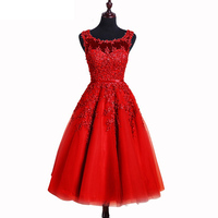 2016 Hot Sale Style O Neck Knee Length Appliques And Beading Decoration Tulle A Line Sleeveless