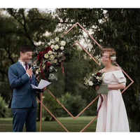 Wedding home party wrought iron stage square artificial backdrop stand Geometric frame decorative flowers swag stand decorations