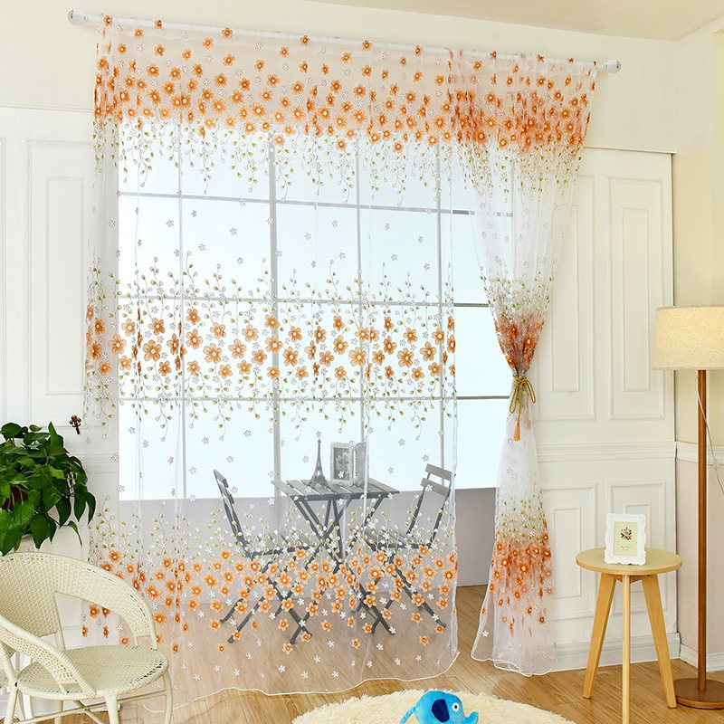 Fabric For Kitchen Curtain: New Home Textile Flower Window Curtain Fabric Tulle Sheer Kitchen Bedroom Living Room Curtains