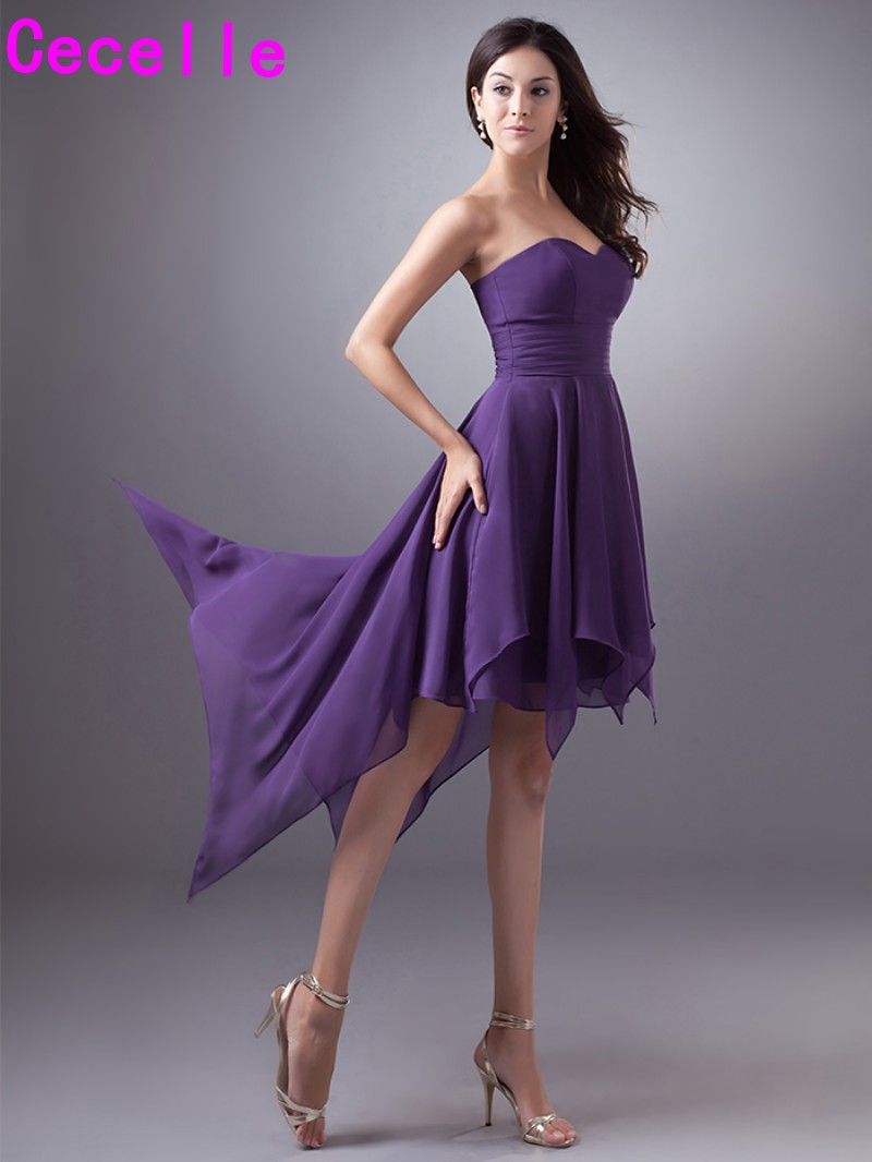 Purple Short High Low Chiffon Bridesmaid Dresses Cheap Plus Size ...