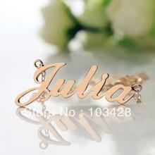 Freeshipping-Placa de Identificación Del Collar de JULIA Estilo Rose Chapado En Oro Sobre Plata Collar con Nombre Collar Inicial Joyería Personalizada