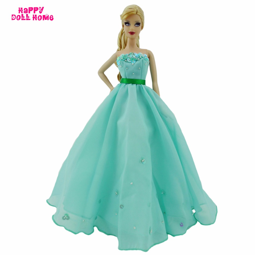 Strapless Princess Gown Wedding Dinner Party Dress Dollhouse Costume Belt Green Clothes For Barbie FR Doll Accessories DIY Gift leadingstar 2017 new wedding bridal dress princess gown evening party dress doll clothes fit for barbie doll for kids gift zk30