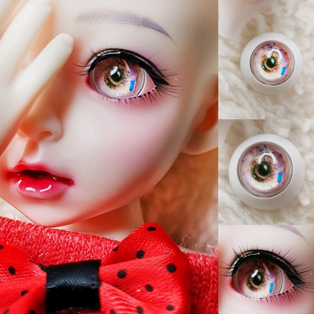 New Pair 10mm 12mm 14mm 16mm 18mm 20mm 22mm Golden Pearl Pink Color Ressure Eye Acrylic Doll's Eyeballs 1/4 SD MSD BJD Doll Eyes
