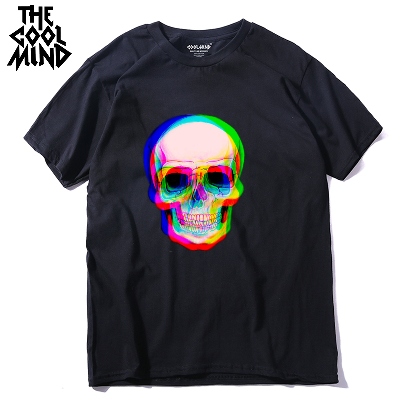 Male T-Shirt Short-Sleeve COOLMIND Skull Men Loose Tmens 100%Cotton Casual Qi0410a Summer