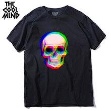 COOLMIND qi0410A 100% de algodón de manga corta cráneo hombres T camisa casual verano Camiseta Hombre camiseta tmens camisetas