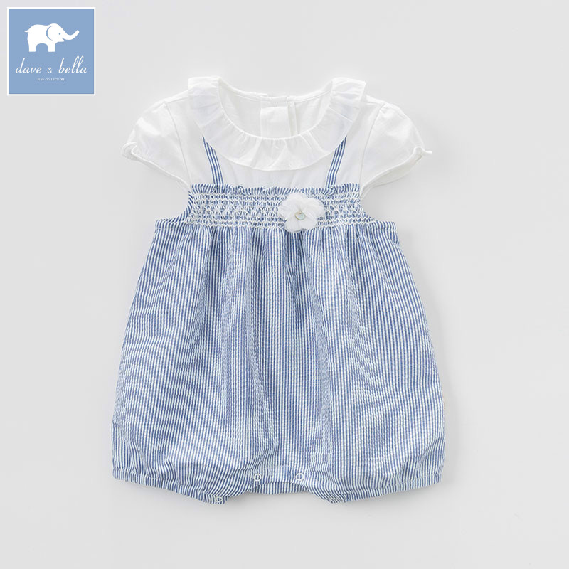 DB7265 dave bella summer new born baby girls romper children infant lovely striped clothes kids toddler 1 pc db7191 dave bella summer baby girls newborn infant toddler jumpsuits children short sleeve printing clothing baby romper