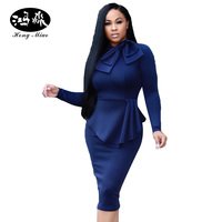 HongMiao New Women Casual Work Wear Office Dress Bow Tie Bodycon Pencil Dresses Club Party Autumn