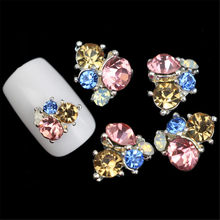 Diamond Glitter Mix Sparkle 3D Nail Art Gem Silver Diamond Rhinestone Flower Alloy Metal Frame Crystal Flower Floral Gems Crafts(China)