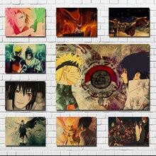 Póster de Naruto anime, dos personajes principales Sasuke y Uzumaki Naruto, cartel retro de papel kraft, póster retro, pegatinas de pared