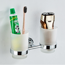 SRJ Stainless Steel Chrome Cup Holder Bathroom Washing Cup Toothbrush Embedded Double Cup Holders Household Bathroom Mug Holder stainless steel polished chrome toothbrush holder with glass cup silver double shelf mounting bathroom accessories products 5600