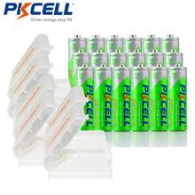 24 X PKCELL NiMH 850mAh 1.2V AAA סוללה נטענת Ni Mh מראש מחויב סוללה סוללות + 6pcs סוללה מקרה תיבות