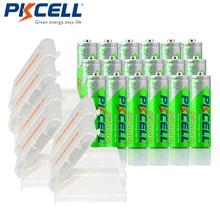 24 × pkcellニッケル水素850mah 1.2v aaa充電式バッテリーニッケル水素プリチャージバッテリー電池 + 6個バッテリーケースボックス
