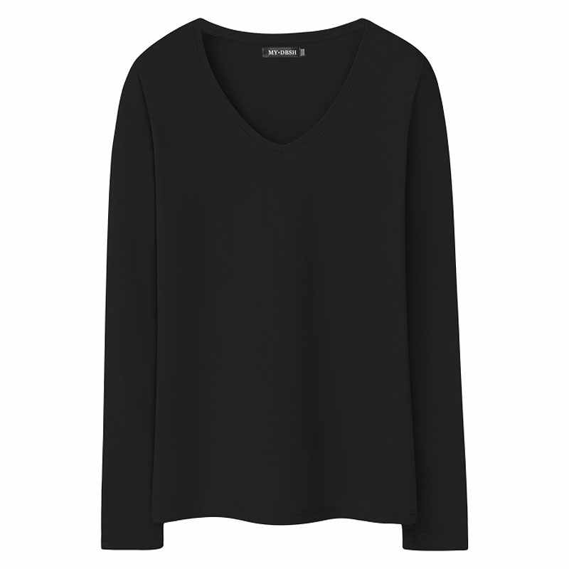6df546473708 ... 2019 New Women's T-shirts Long Sleeve undershirt V neck Pure color  tshirt Woman Casual