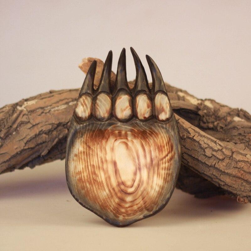 escultura de madera hecha a mano animal de la pata de oso plato de fruta plato