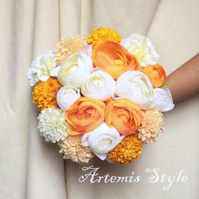 8 10 Camellias Dahlias Tea Roses Mixed Artificial Flowers Wedding Bouquet Ivory Yellow