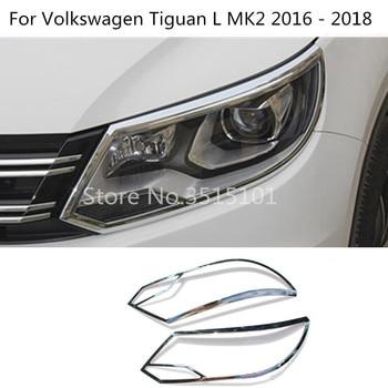 Car cover detector ABS Chrome front Light Lamp Trim frame 2pcs For Volkswagen VW Tiguan L TiguanL MK2 2016 2017 2018 2019 2020