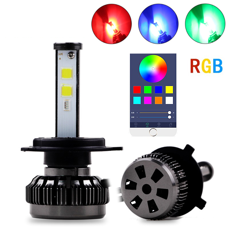 2 pièces Voiture Populaire Multicolores RVB Auto phare LED Kits H1 H7 H4 H8 HB3 HB4 881 H16 APPLICATION Bluetooth Télécommande bricolage Phare Antibrouillard