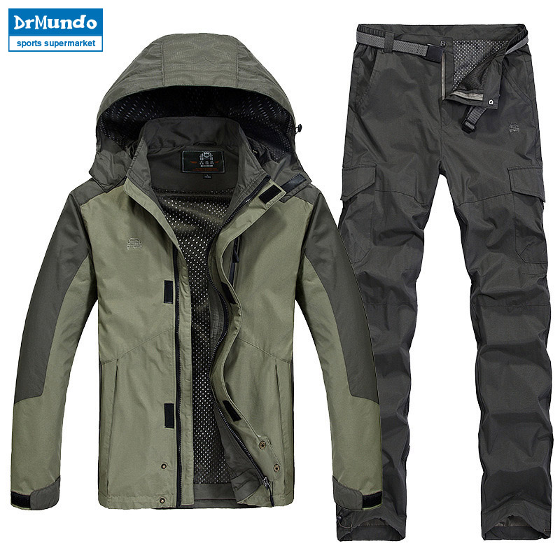 Men Summer Fishing Outdoor Waterproof Travel Hiking Quick Dry Jackets Plus Size Camping Trekking Trousers Suit Pant Windproof oversize autumn winter men s tapered jeans trousers denim harem pant plus size 40 42 44 46 48