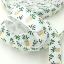 High Quality White Pineapple Print Fold Over Elastic Gold Foil FOE 5/8 Wholesale Foldover Ribbon 100yards/lot