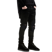 Straight Slim Fit Biker Jeans Pants Distressed Skinny Ripped Destroyed Denim Jeans Men Washed Hiphop Trousers Black