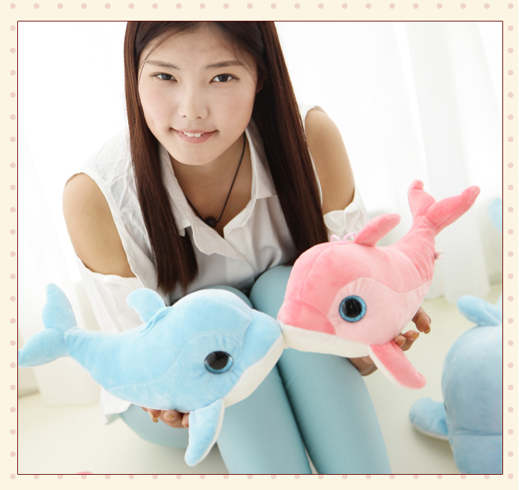 Free Shipping Blue&Pink Color Soft Animal Dolphins Stuffed&Plush Toy Hight Quality Lovely Cute Girl Gift Wedding Gift 50cm lovely super cute stuffed kid animal soft plush panda gift present doll toy