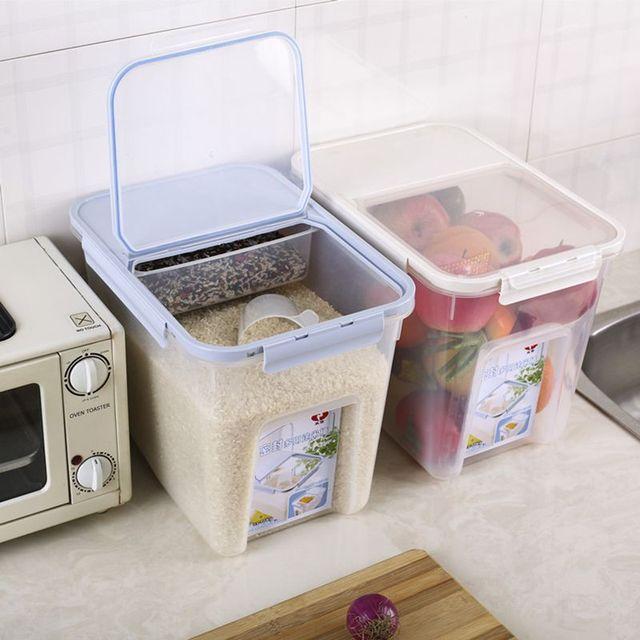 10kg Plastic Rice Barrel Kitchen Rice Storage Box Moisture