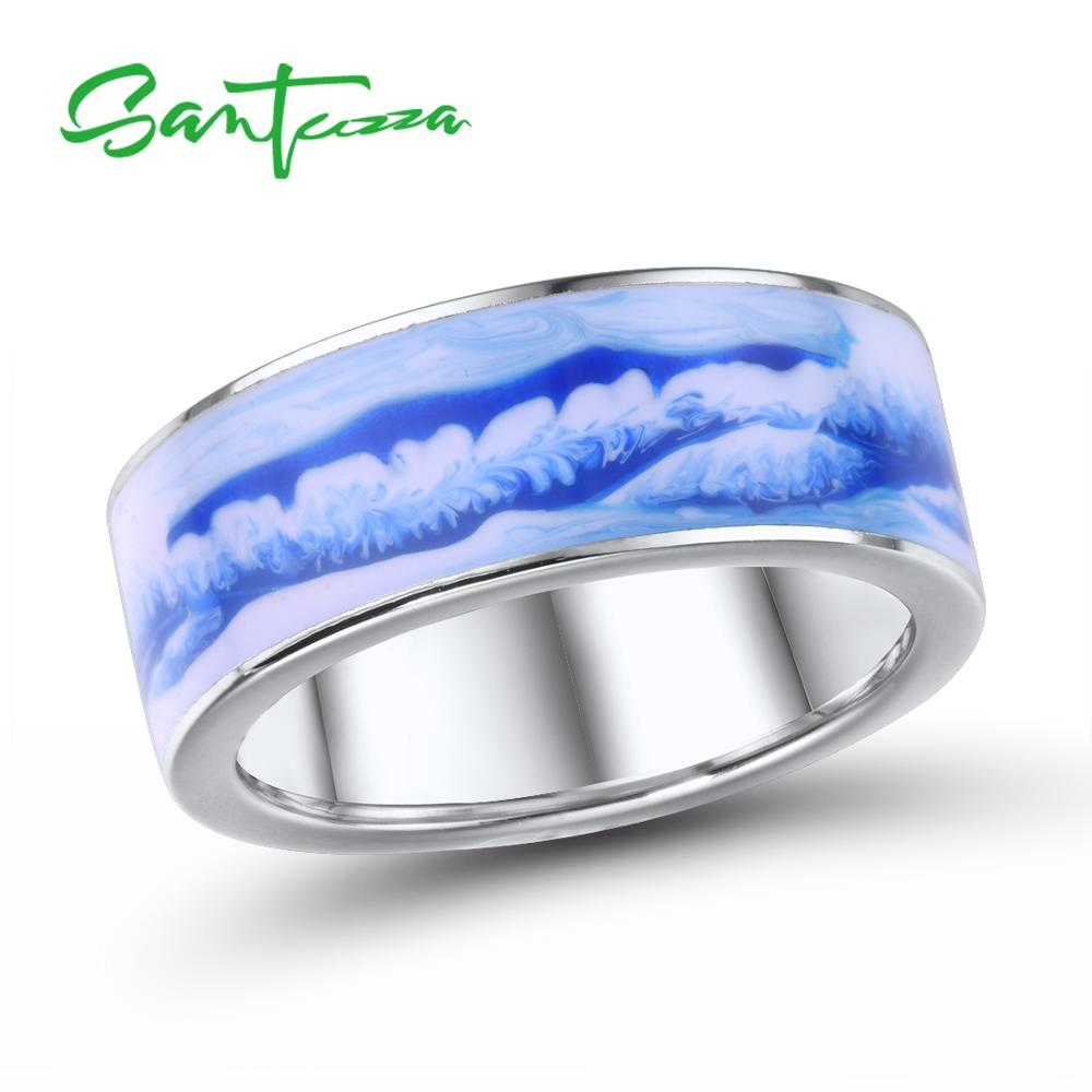SANTUZZA Silver Rings For Women Genuine 925 Sterling Silver Blue Mountain And Sea Elegant Poetic Fine Jewelry Handmade Enamel