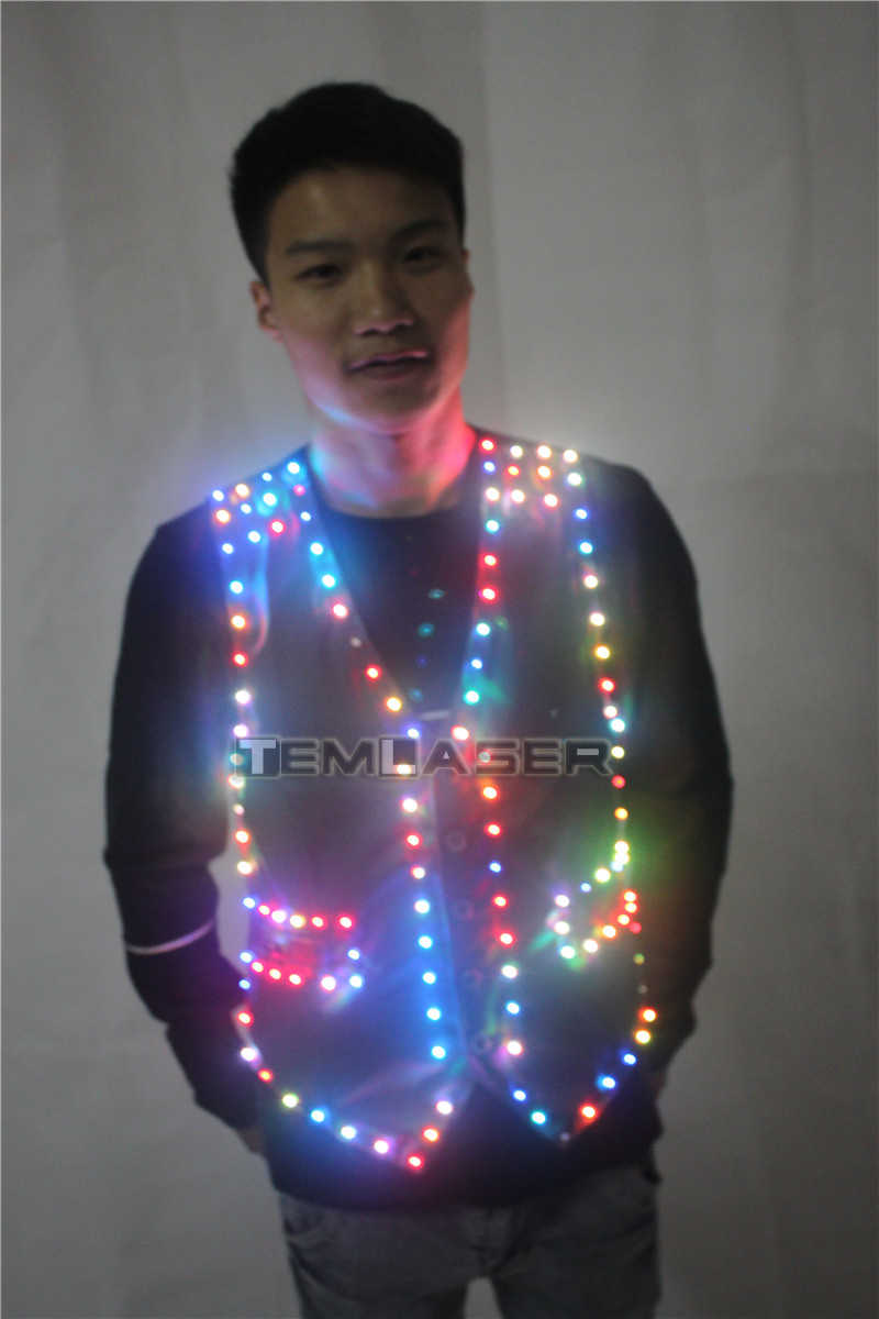 49a5d1e9a9479 ... Colorful Led Luminous Vest Ballroom Costume Jacket DJ Singer Dancer  Performer Stage Wear Waiter Clothes ...
