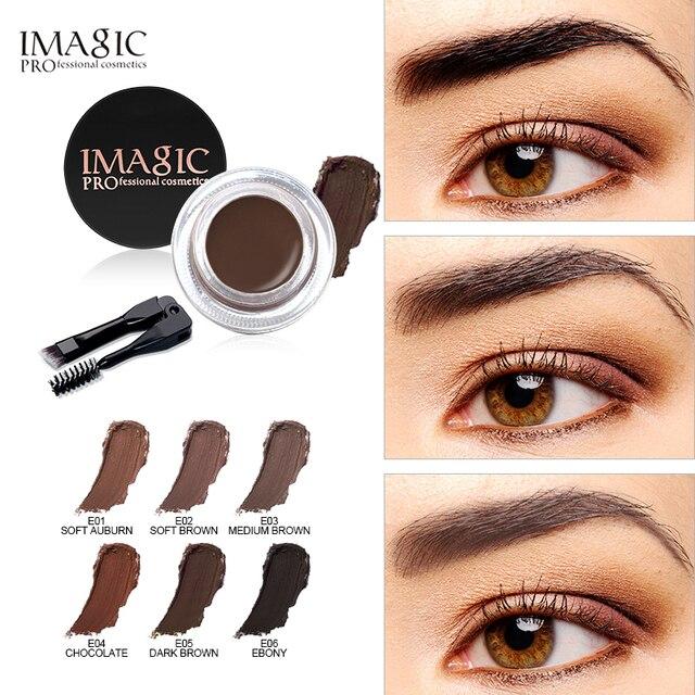 IMAGIC nuevas llegadas profesional Gel de cejas 6 colores de cejas tinte maquillaje ceja marrón Gel de cejas con el cepillo de cejas herramientas