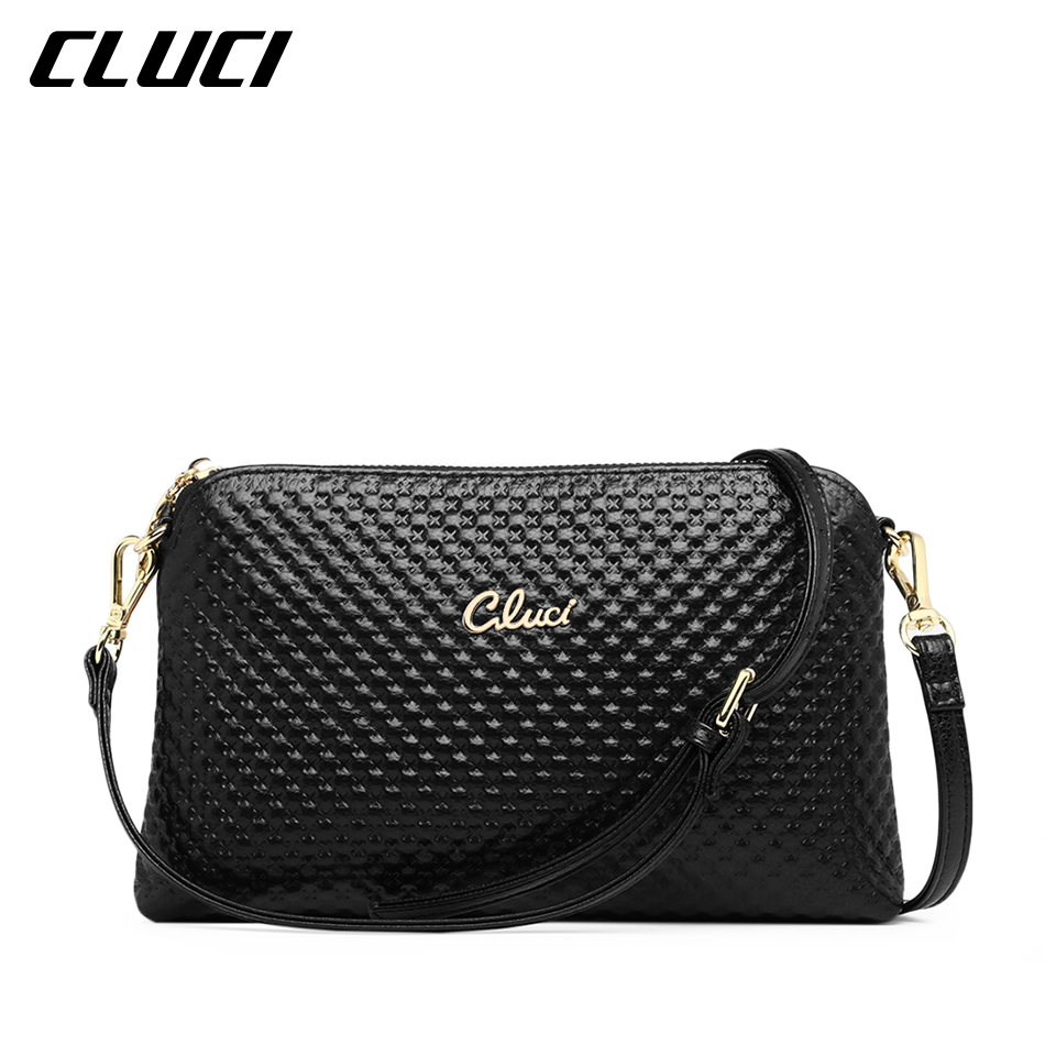 CLUCI Women's Crossbody Bag Cow Genuine Leather Black/Blue/Pink/Beige/Yellow/Gre