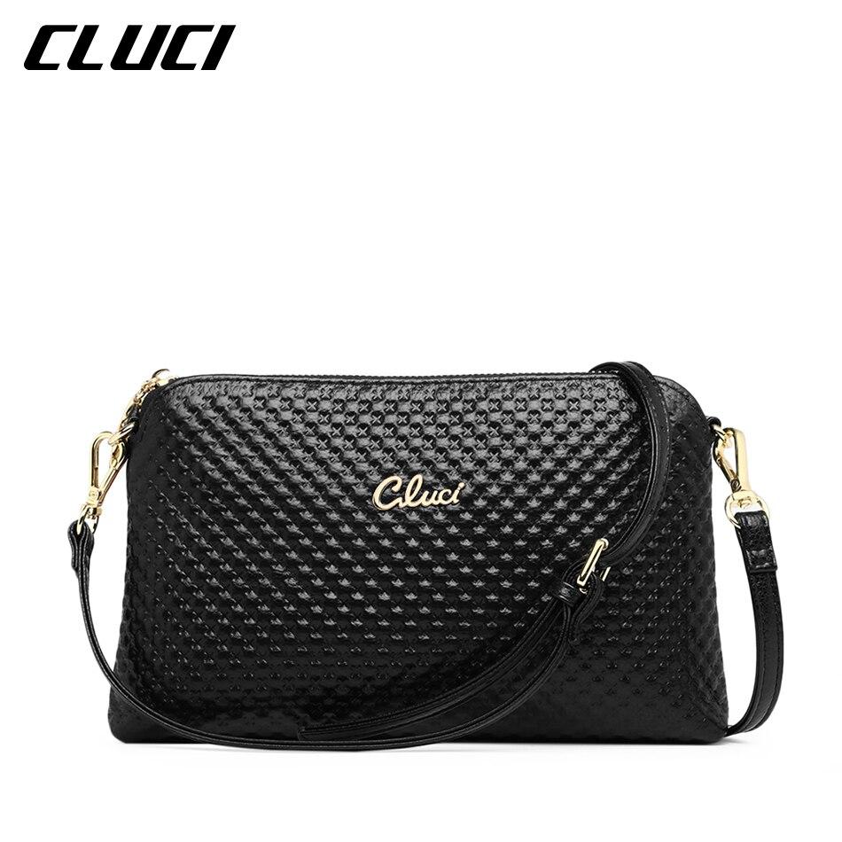 все цены на CLUCI Women's Crossbody Bag Cow Genuine Leather Black Pink Yellow Ladies Evening Bags Shoulder Bags for Women Leather Hand Bag онлайн