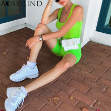 AOSSILIND Fashion green sleeveless bodycon playsuit summer autumn women casual skinny short jumpsuit overalls