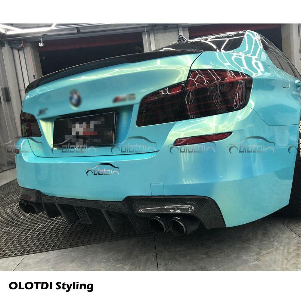 V стиль, настоящий автомобильный диффузор из углеродного волокна, задняя губка для BMW F10 M5, задний бампер, спойлер, фартук для автомобиля, стильный светодиодный светильник - 5