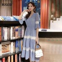 RUGOD Elegant Sweet Lolita Women Dress Dot Print Short Sleeves Chiffon a Line High Waist Summer Dress Casual Party Dress Modis