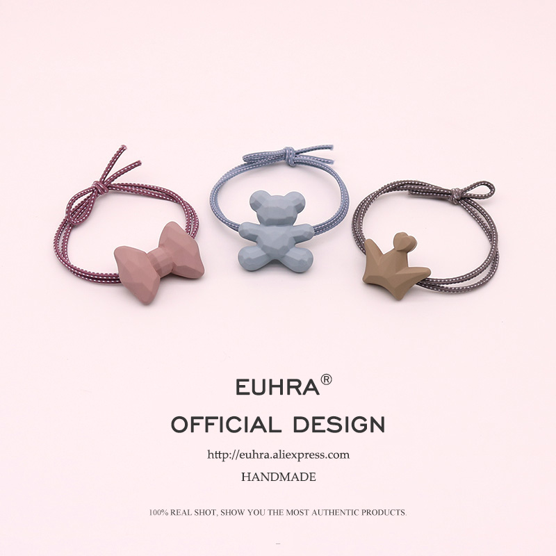 EUHRA 3 Kinds Bow-knot Bear Crown Elastic Hair Bands For Women Girls Hair Band Kid Children Rubber Band